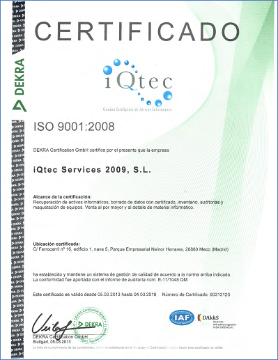 ISO Certification from iQtec Services S.L.